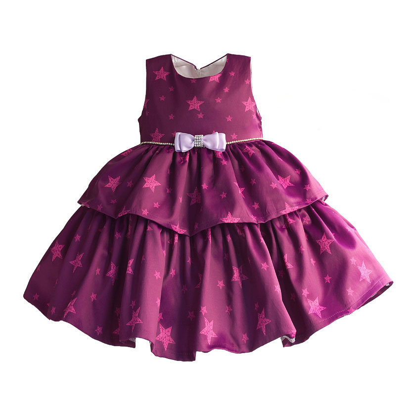Girls Party Dresses Star Print Rhinestones Bow Layered Dress Girl Clothes Purple Green Princess New Year Kids Dress for 3M-4Y