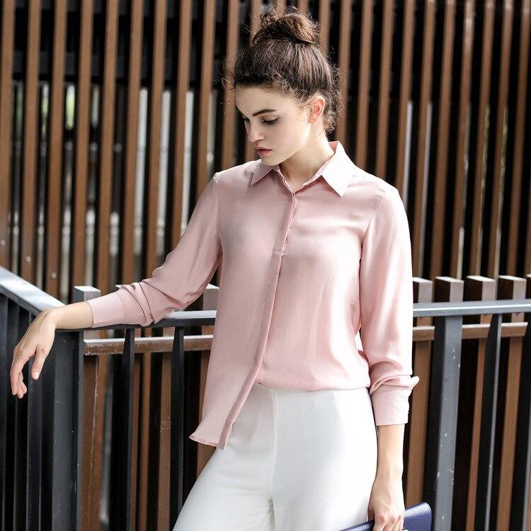 Femmes soie Blouse à manches longues 100% réel soie crêpe Blouses solide basique bouton bureau dame chemise 2019 blanc Blusas