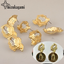 26*17mm 6pcs/lot Zinc Alloy Retro Geometric Hollow 3D Earrings Base Earring Connector For DIY Exaggerated Earrings Accessories