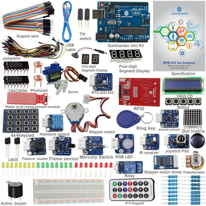 SunFounder UNO R3 Kit Upgraded Version RFID Learning Kit V2.0 for Arduino Suitable for the Uno, Mega 2560, Duemilanove, and Nano
