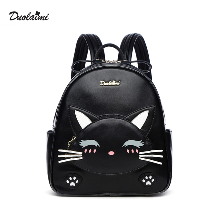 DouLaiMi Cat Backpack Black Preppy Style School Backpacks Cute Quality PU Leather Fashion Women Shoulder Bag Travel Back Pack 2016 new backpack funny lovely style school backpacks quality pu leather fashion women shoulder bag travel back pack square bag
