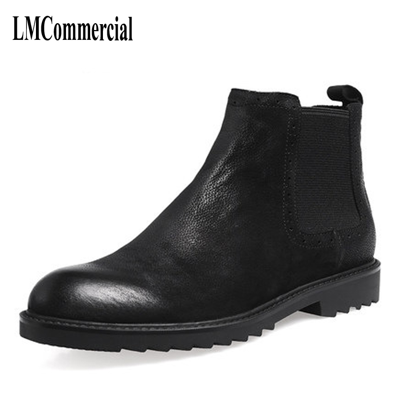 Autumn and winter boots leather boots Martin male male British shoes retro Chelsea male boots boots autumn and winter new leather shoes with leather boots and boots with flat boots british classic classic hot wild casual shoes