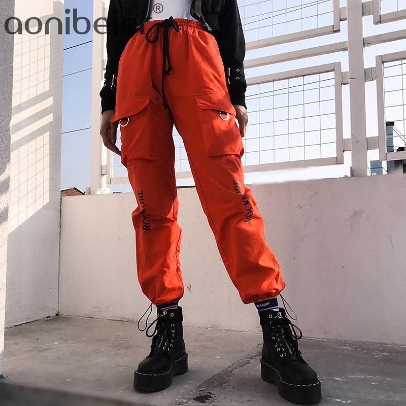 Aonibeier Spring Elastic High Waist Pant Women Letter Harem Pants Capris Streetwear Ladies Trousers Pockets Joggers Women