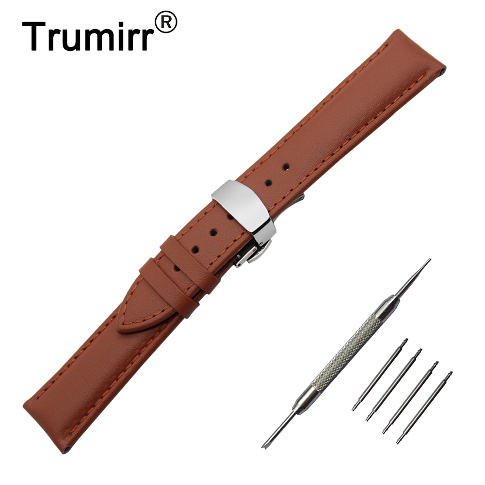 18mm Genuine Leather Watch Band for Withings Activite / Steel / Pop Butterfly Buckle Strap Wrist Belt Bracelet Black Brown 18mm genuine leather watchband tool for huawei watch women s smartwatch band wrist strap plain grain belt bracelet black brown