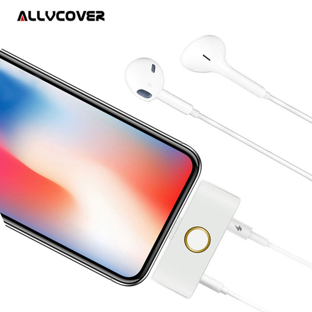 buy online 94fca 3ce69 US $15.69 |2 in 1 Audio Charger Adapter For iPhone X Home Button Adapter  For Lightning to 3.5mm Headphone Adapter For iPhone 5 6 7 8 Plus-in Mobile  ...