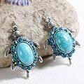 Zoshi nova moda contas tibetant prata tartaruga animais de cristal do vintage brincos natural turquesa pedra para as mulheres de jóias