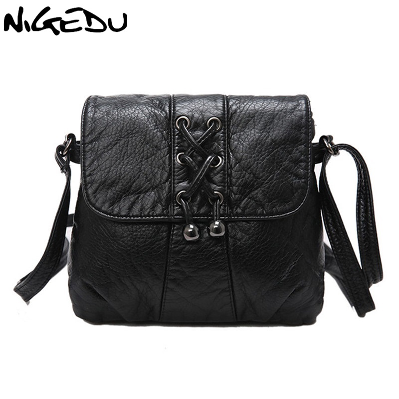 NIGEDU Soft leather Women Messenger bag casual Woven tassels women's shoulder Crossbody bag female handbag Black girl bag bolsa new fashion women girl student fresh patent leather messenger satchel crossbody shoulder bag handbag floral cover soft specail