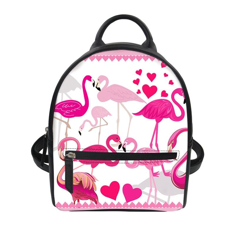 Leather Beautiful Lovers Flamingos Backpack Daypack Bag Women