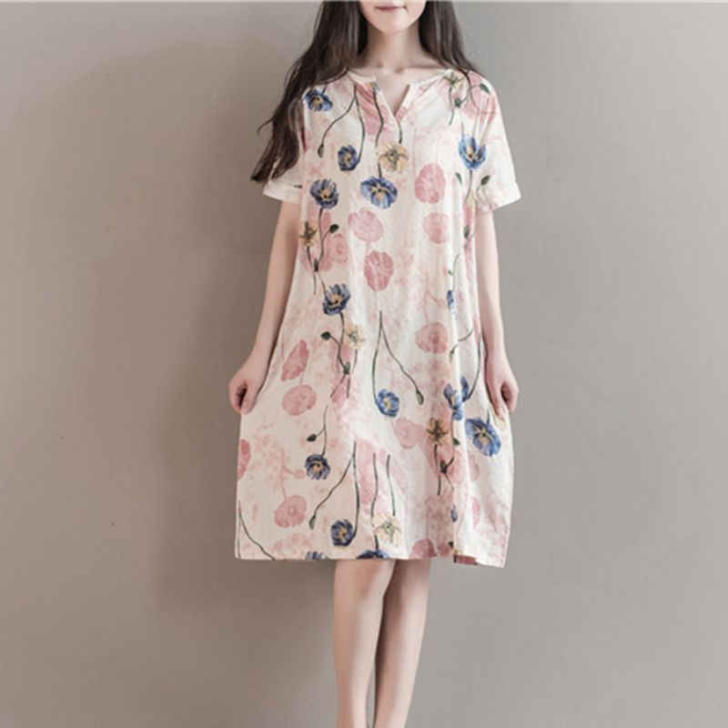 Maternity Clothes Summer New Arrival Print Cotton V Collar Casual Short Sleeve Summer Dress Fashion Loose Pregnant Women Dress vintage v neck short sleeve butterfly print chiffon dress for women