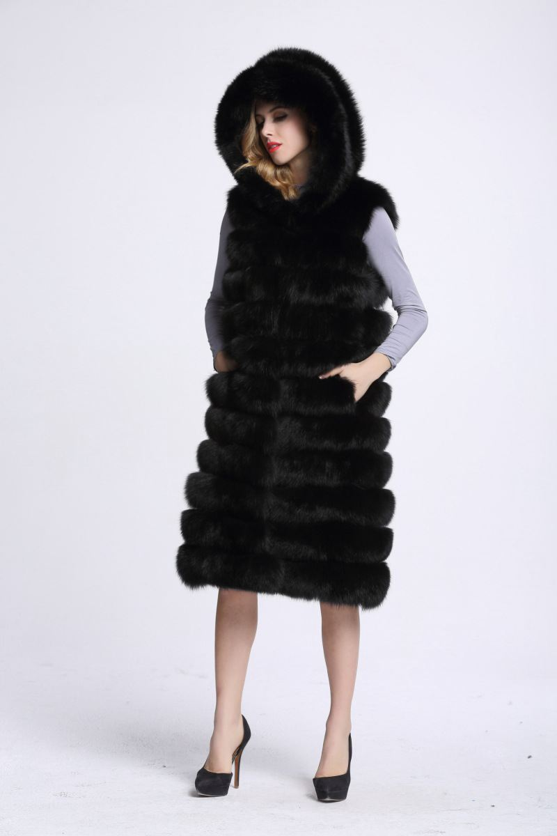 New Style Women's winter Faux Fur Coat With Hooded Vest Long Large Size S-4XL Vest For Women Free Shipping 2016 new aarrivals fashional women hoody long style warm winter coat women plus size s xxl free shipping