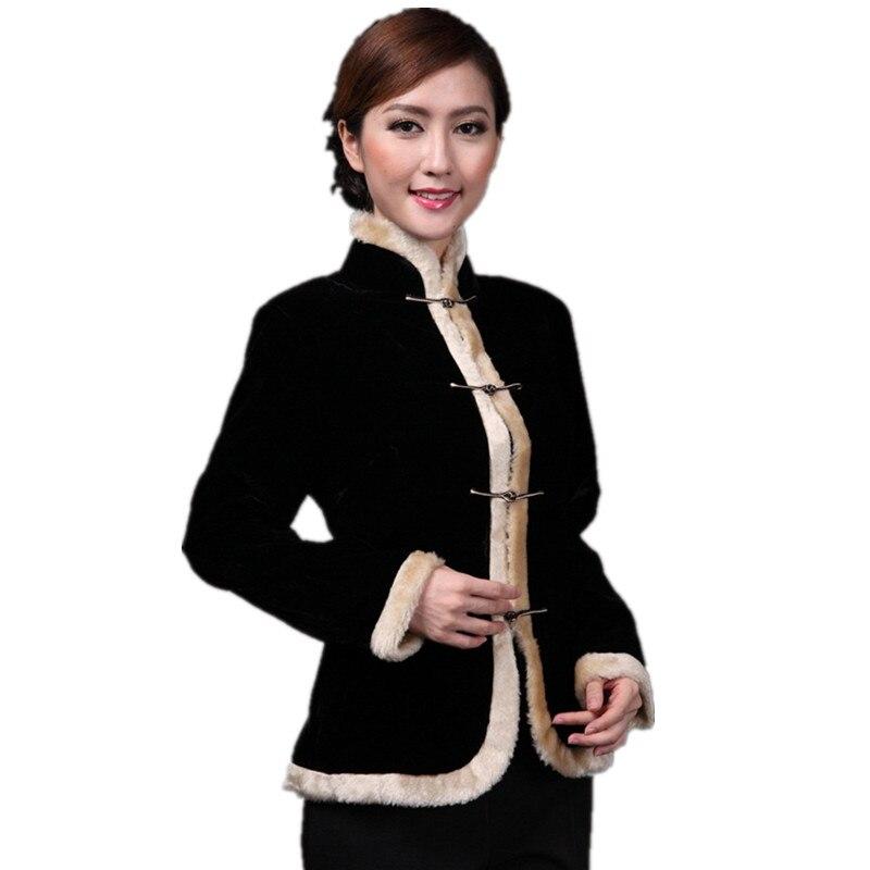Manteau À Tailles Bouton Livraison Chinois Dame Noir Slim Hiver Xxxl Velours Gratuite Automne Solide Outwear Veste Mandarin Printemps Collar 1q1Tgw