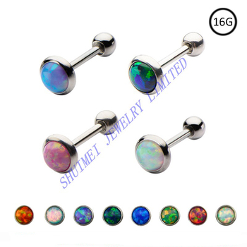 SHUIMEI 80Pcs Opal Stone Ear Tragus Barbell Cartilage Stud Earring Bar Body Piercing Jewelry Puncture 2015 New 16G