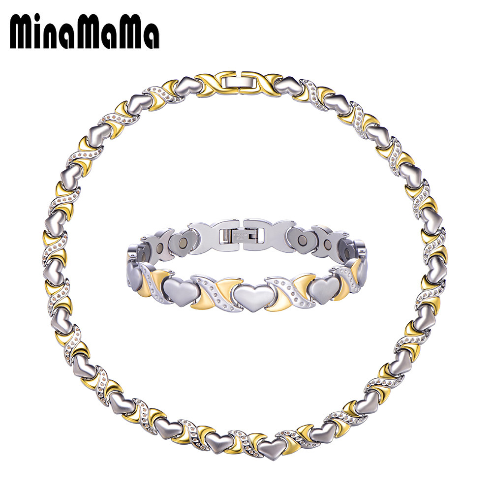 Love Heart Chain Link Stainless Steel Jewelry Sets For Women Power Health Care Magnetic Jewelry Sets Necklace/Bracelets цена 2017