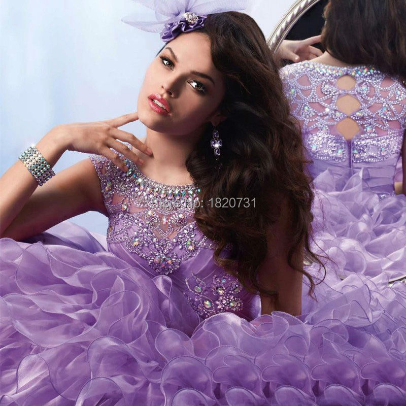New Light Purple 2019 Ball Gown Quinceanera Dresses Scoop Pleats Beaded Rhinetones Sweet 16 Dress For 15 Years Debutante Gown