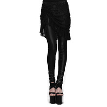 Steampunk Gothic Women Leggings Trousers Black Lace Tassel Skirt Leggings Asymmetric High Waisted Long Pants Plus Size XS-3XL