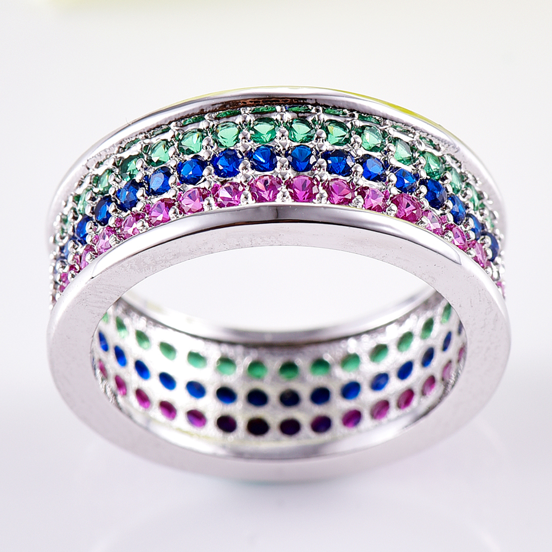 Women Fashion Red&blue&green ring High quality jewelry classic ring gift for women man trendy ring Size 6 7 8 9 10