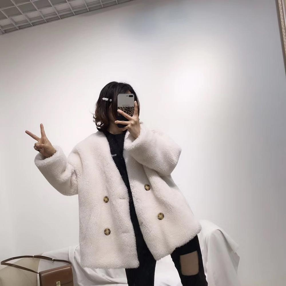 2019 BFFUR Loose Style Women Woolen Coats Winter Female Real Wool Fur Coat Customized Warm Fashion Jacket Genuine Leather Park