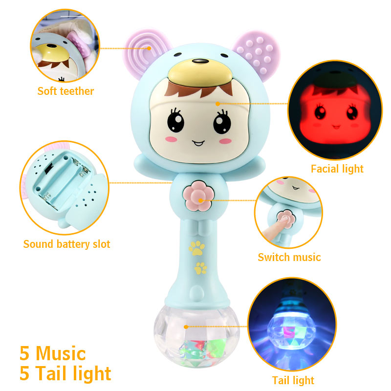 Baby Hand Rattles Music Rhythm Lighting Plastic Cute Sand Hammer Newborn 0-12 Months Teether Educational Baby Toy Baby Rattles & Mobiles