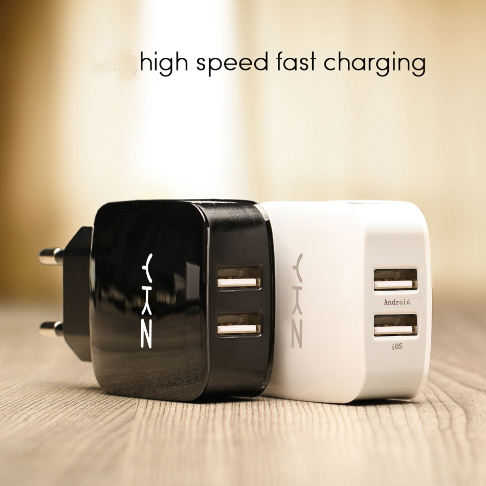 YKZ USB Phone Charger Dual 2 ports For iPhone Samsung Huawei Xiaomi Android Fireproof ABS 5V