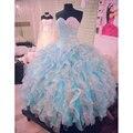 Shinny azul e branco vestidos Quinceanera vestido de baile bonito Sweet 16 vestidos de Organza Ruffles Puffy Quinceanera vestido Corset