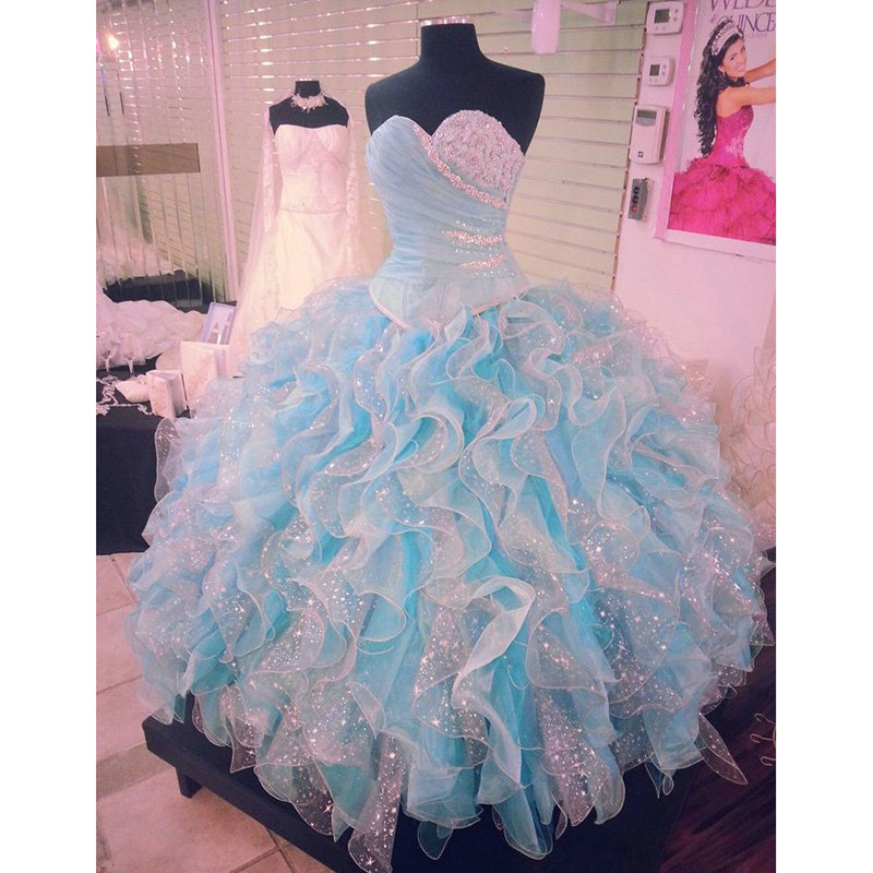 Popular Quinceanera Dresses Blue and White Puffy-Buy Cheap ...
