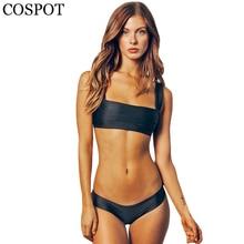 COSPOT Bikini 2019 Solid Swimwear Women Bandeau Set Beach Push Up Swimsuit Summer Sport Bathing Suit