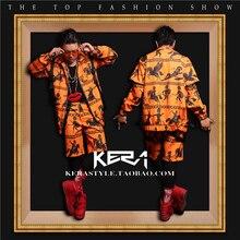 2016 новинка DJ с пунктом певица права чжи – длинные оранжевый старый рисунок печать сценические ( куртка + брюки ) костюм