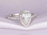 ลูกแพร์ตัดสดใสM Oissanitแหวนหมั้น14พันสีขาวทองเพชรแต่งงานวงรัศมีคลาสสิก