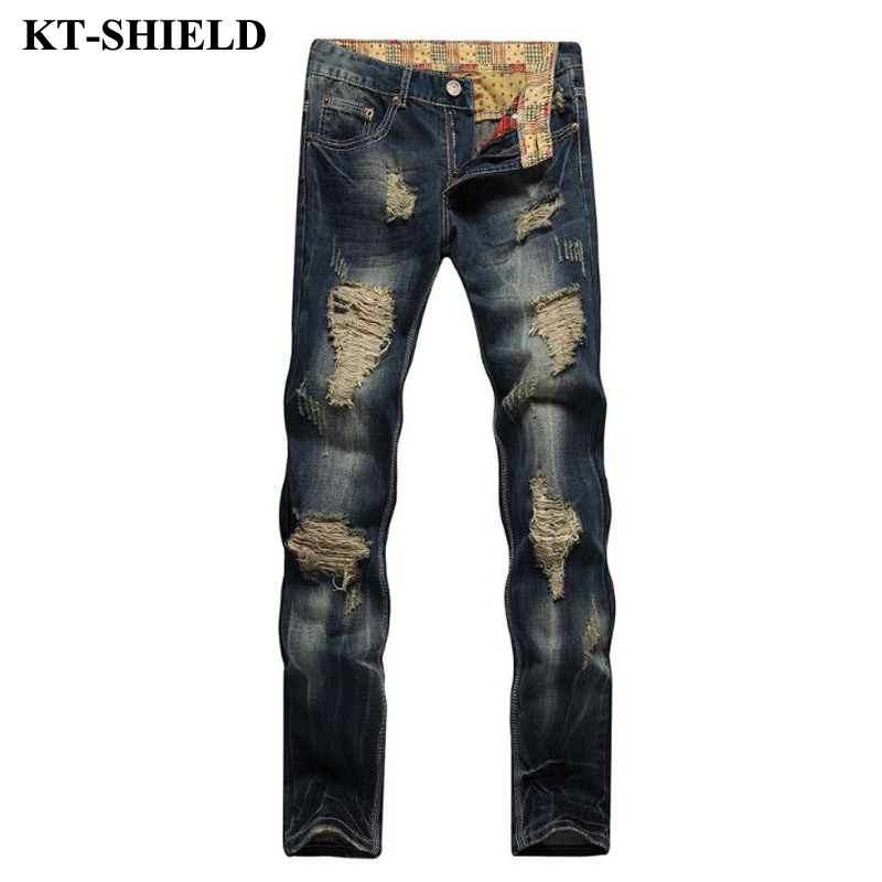 Ripped Jeans Men 2017 Famous Brand Biker Denim Trousers Slim Fit Vintage Distressed Jeans Pants 100%Cotton Mens Motorcycle Jeans 2017 fashion patch jeans men slim straight denim jeans ripped trousers new famous brand biker jeans logo mens zipper jeans 604
