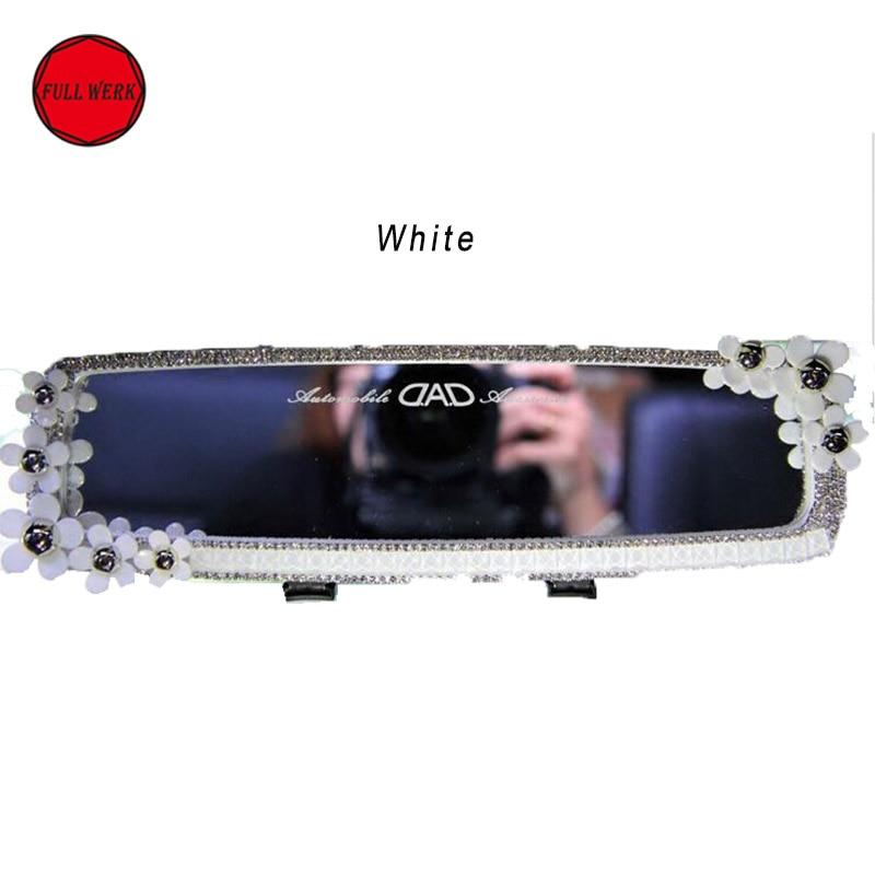 1PC Flower Decorative Car Auto Innenrückspiegel in Weiß Silber für - Autoteile - Foto 3