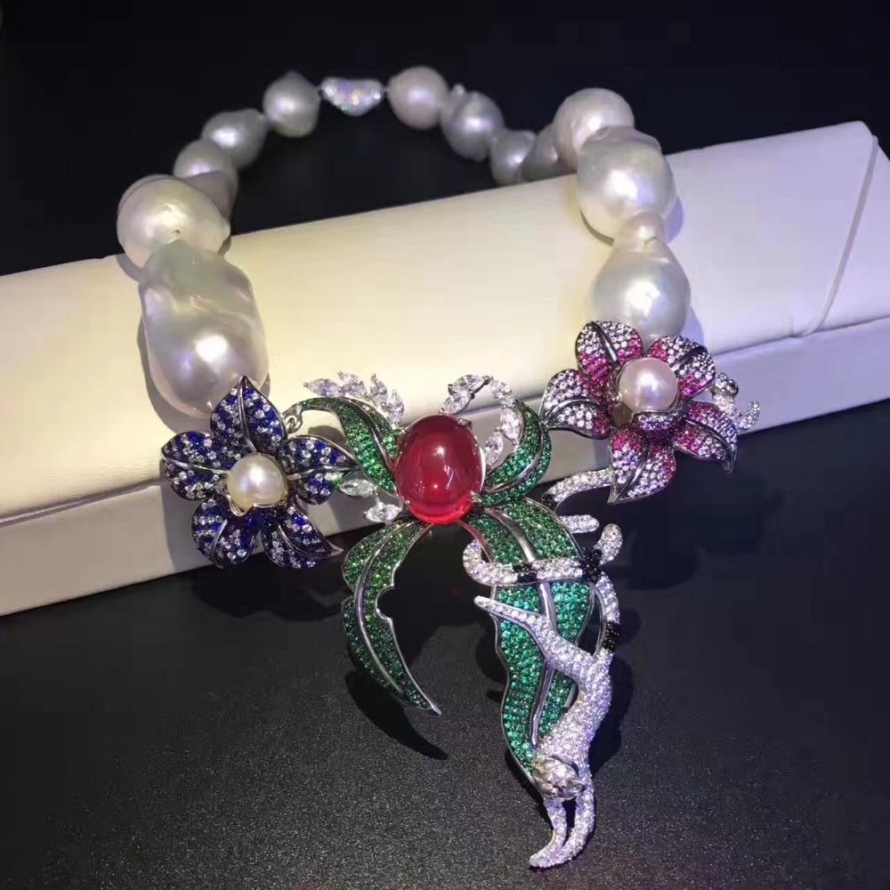Baroque naturel eau douce perle collier 925 en argent sterling avec cubique zircon fleur pendentif collier mode femmes bijoux