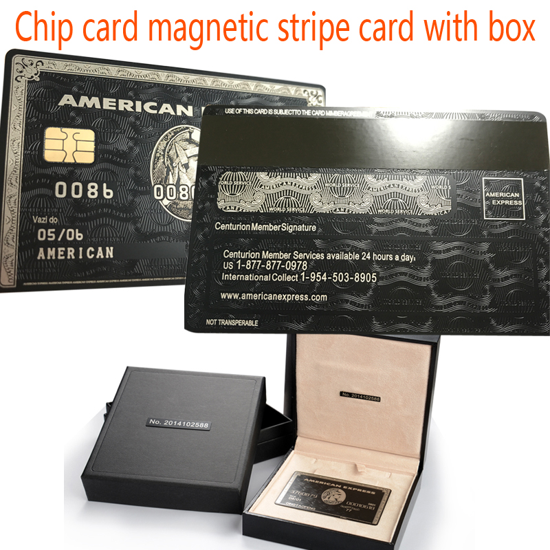 Chip card magnetic stripe card with the box American Express card cardka custom personalized free shipping 20pcs lot contact sle4428 chip gold card with magnetic stripe pvc blank smart card purchase card 1k memory free shipping