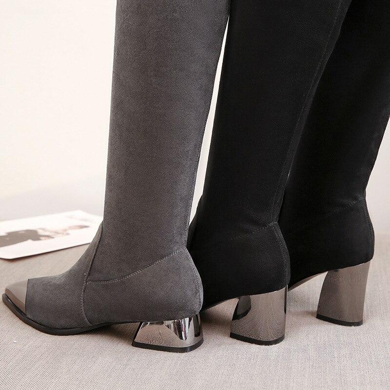 En Europe Hauts Nouveau Mode Velours unis Métal Le Des Pointu Hiver Noir Automne Épais Et Avec À Etats Vache Bottes Talons Modèle Femmes gris La w8wxCzOq