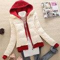 Nuevo 2016 abrigo de invierno mujeres espesar delgado corto wadded chaqueta parka con capucha casual mujer chaquetas D012