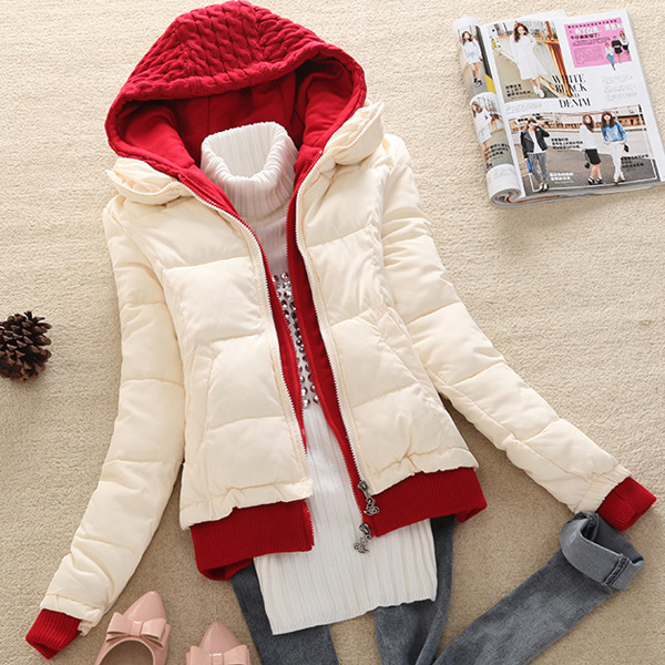 new 2016 winter coat women thicken slim short wadded jacket  hooded casual parka women jackets D012