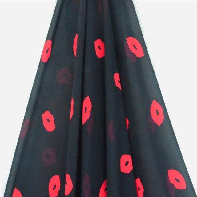 75D gedruckt schwarz flamme rote lippen muster frühling und sommer kleidung  kleid stoff chiffon stoff tuch 921dbffb22