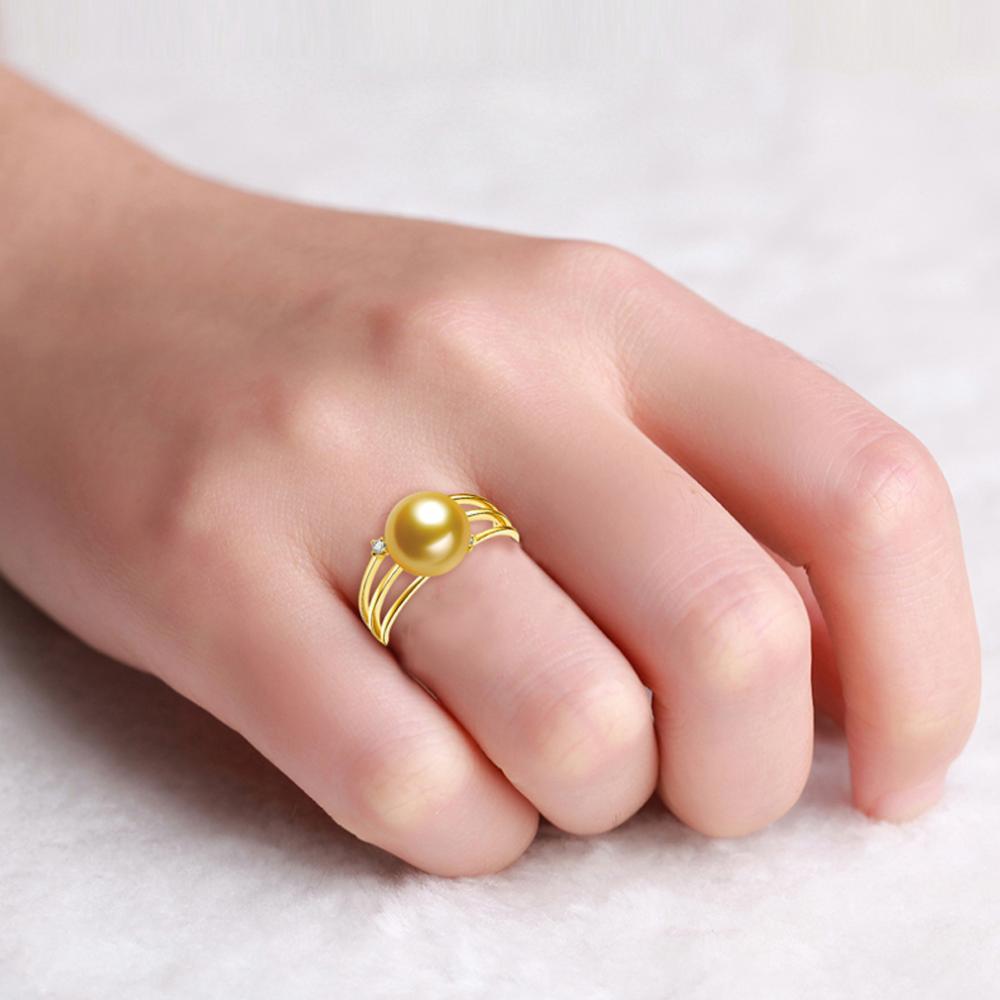 GVBORI 9 10mm Natural Southsea Gold Pearl 18k Yellow Gold Women Ring ...