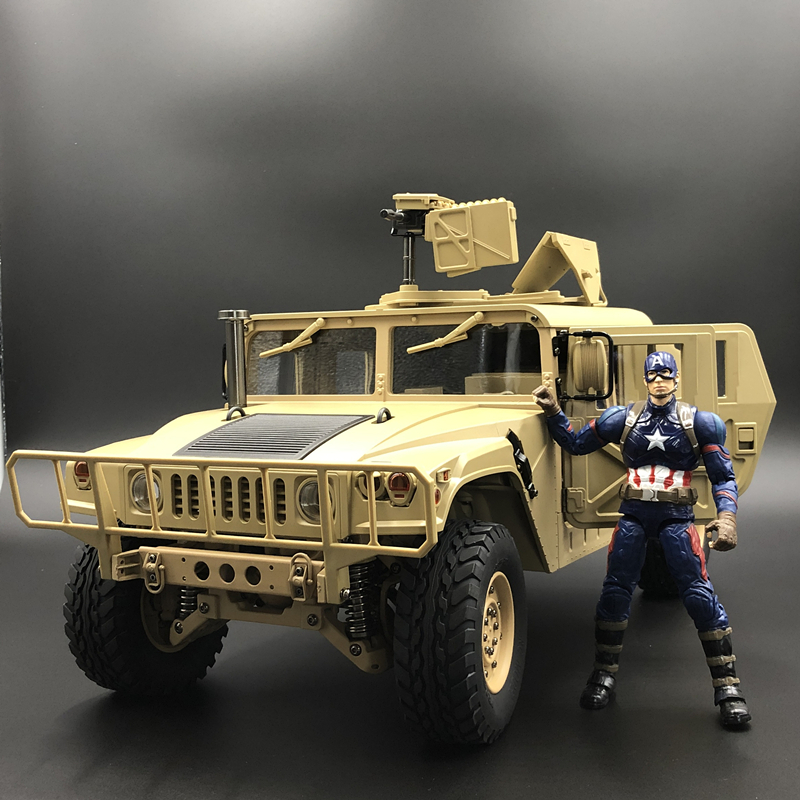 u.s.4X4MILITARY VEHICLE M1025 Humvee 1/10 rc Metal Chassis Off road vehicle car HG P408 Upgraded Light Sound FunctionRC Cars   -