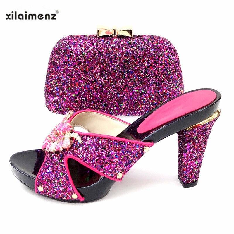 pink Zapatos Conjunto Bolso Fiesta En Señoras Y Llegados De Tacones Recién Blue Rosa gold Super Black Nigeria sky A Juego fuchsia green Sexy SW1qIwInF