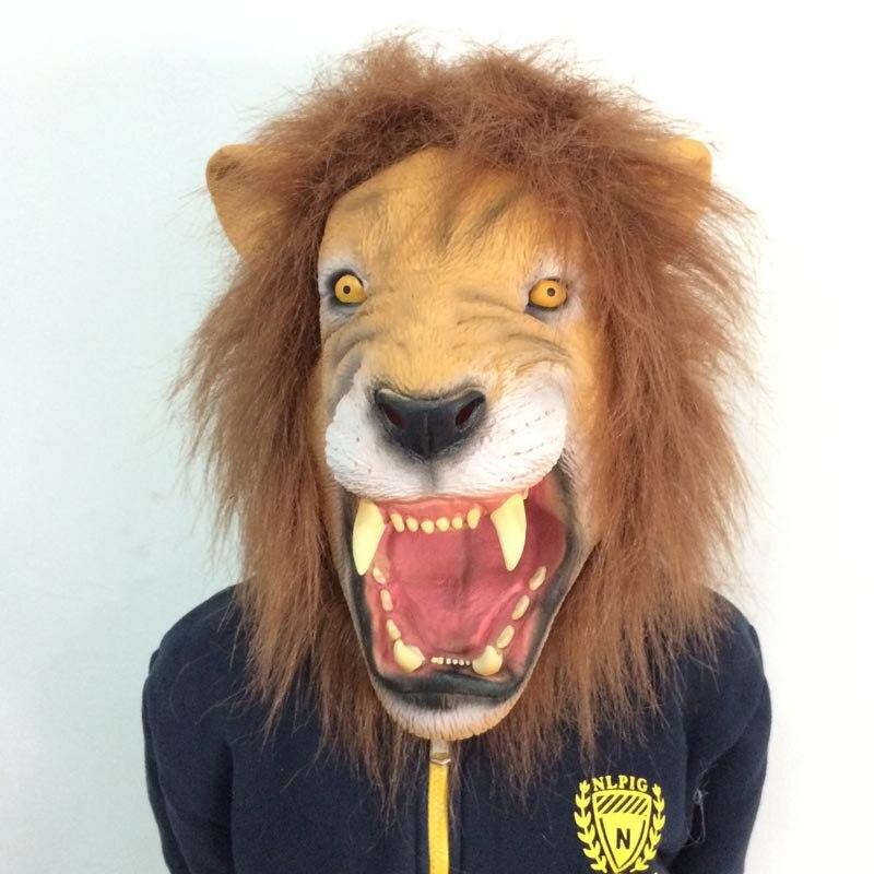Lifelike Fierce Long Hair Lion Mask Scary Toothy Lion King Retaining Cap Terror Halloween Party Mask Fancy Ball Animal Mask