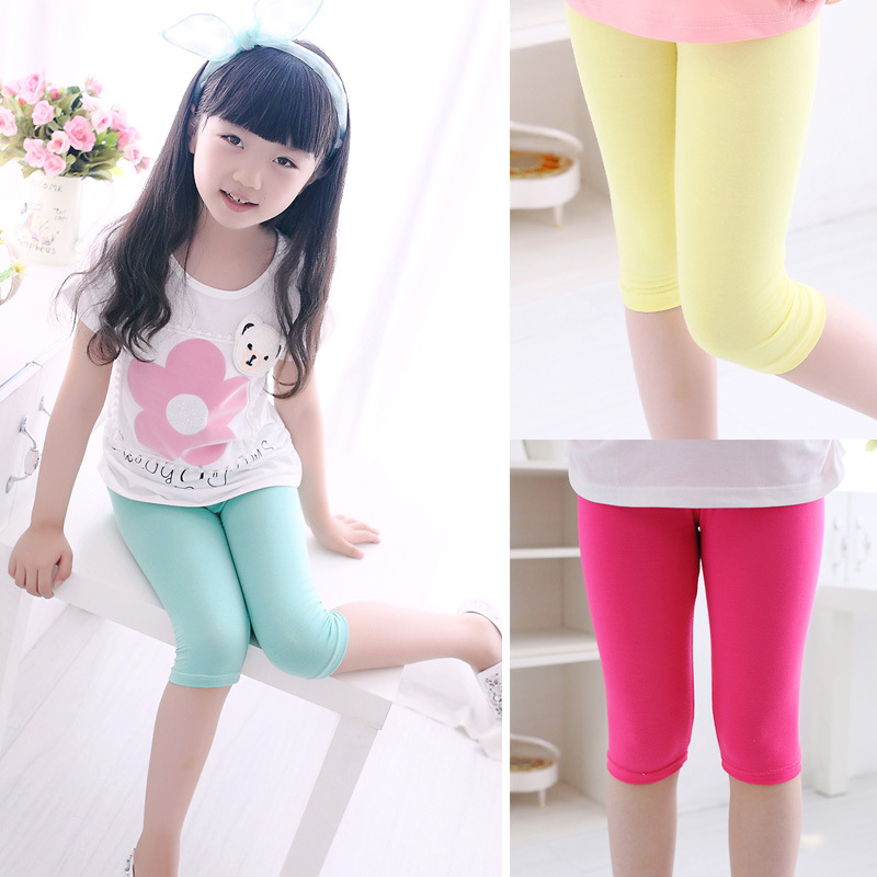 3-10years Girls Knee Length Kid Five Pants Candy Color Children Cropped Clothing Spring-Summer All-matches Bottoms Leggings 5