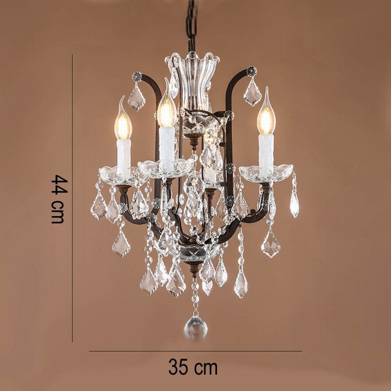 Retro Vintage Antique Rust French Mini 4 Arms Chandelier Crystal European Empire Style For Living Room In Chandeliers From Lights