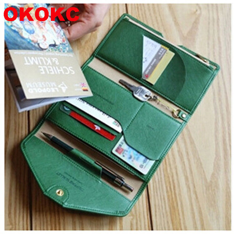 OKOKC PU Travel Multifunctional Three Fold Passport Holder Leather Surface Passport Wallet Cover Travel Accessories
