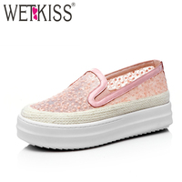 WETKISS New Arrival Breathable Mesh Flats Natural Leather Flat Platform Shoes Woman Straw Weaving Slip On