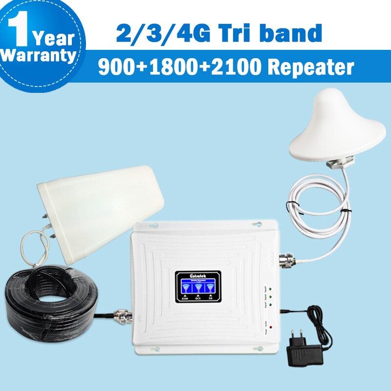 Lintratek NEW Tri Band Repetidor 2G 3G 4G GSM 900 DCS/LTE 1800 WCDMA/UMTS 2100 MHz Amplificador de Sinal Celular Antena Conjunto de Reforço S29