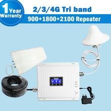 Repetidor Tri Band Lintratek 4 3 2g g g GSM 900 mhz dcs 1800 WCDMA/UMTS 2100 amplificador 4g Antena Impulsionador do sinal do telefone móvel repetidor de sinal de celular amplificador 4g celular Repetidor 2g 3g 4g gsm