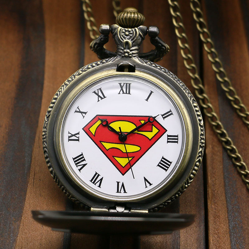 New Arrival Antique Bronze Superman Pocket Watch Retro Quartz Fob Watch With Chain Necklace Men Boy Pendant Gift
