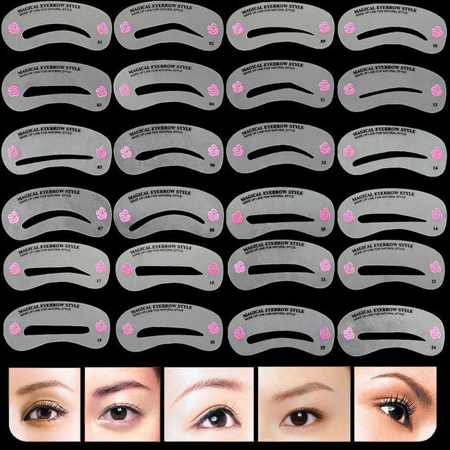 48Pcs/Lot Eyebrow Stencil Grooming Stencil Kit Make Up Tools Painted Model Stencil Eyebrow Shape Templates For Eyebrows Cosmetic 1