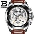 2017 Hombres Relojes de Primeras Marcas de Lujo BINGER Grande Diseñador Dial Cronógrafo de cuarzo inoxidable Resistente Al Agua Relojes de Pulsera B-9016-6