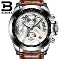 2017 Men Watches Luxury Top Brand BINGER Big Dial Designer Chronograph Water Resistant stainless quartz Wristwatches B-9016-6